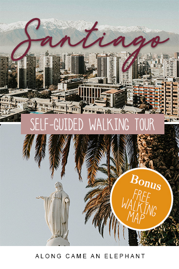 Explore Santiago de Chile on your own with this free self-guided walking tour and discover all the major sights like Cerro San Cristobal, Sky Costanera, Cerro Santa Lucia, Barrio Bellavista and many more in one day. #Santiago #Chile #travel #citytrip #southamerica