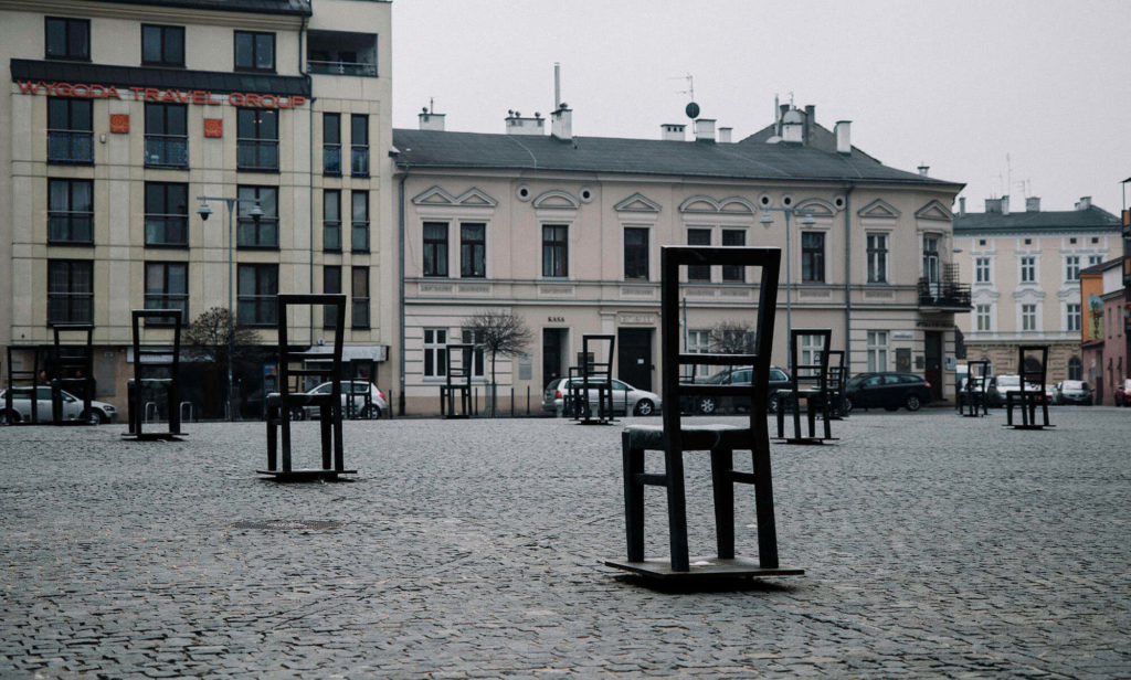 Ghetto Heroes Square, the 1st stop on the walking tour in the former Jewish Ghetto