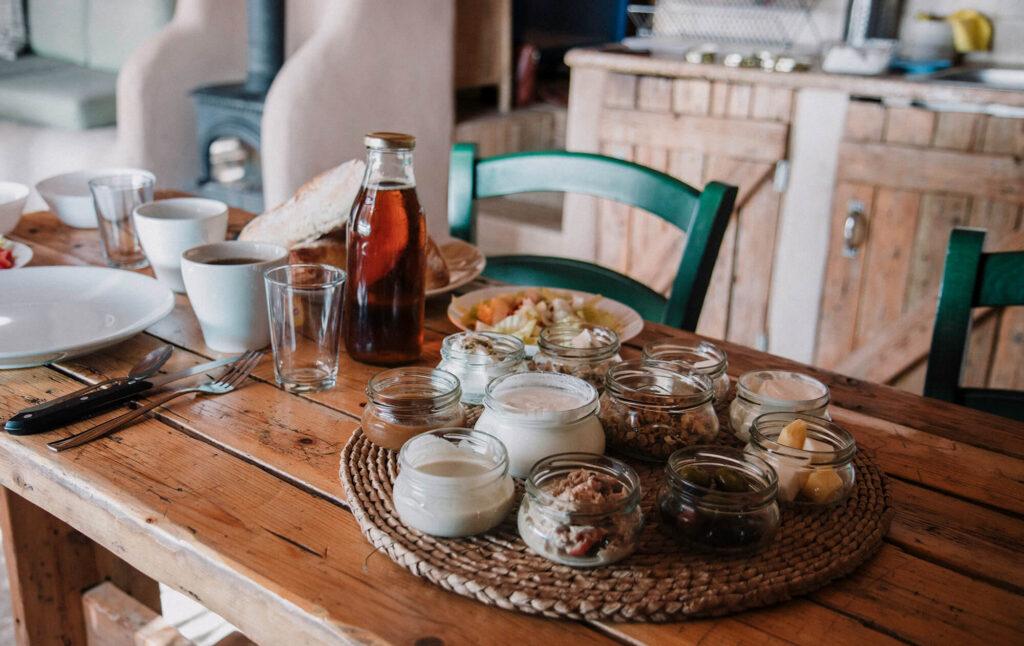 Typical Israeli breakfast spread