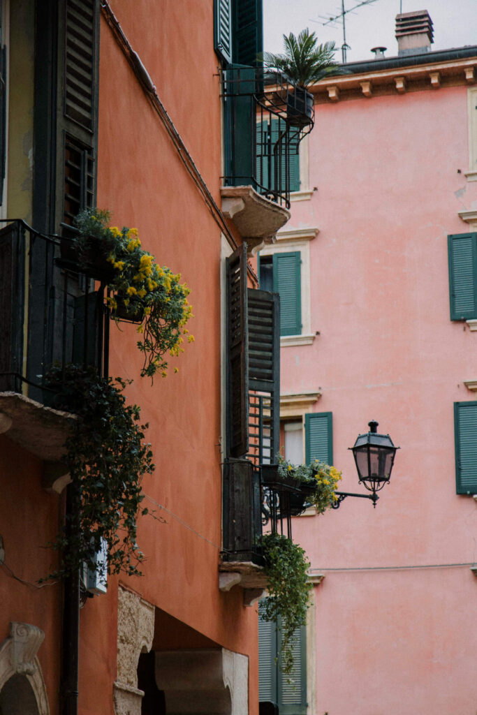 Pink streets in Verona historic city centre