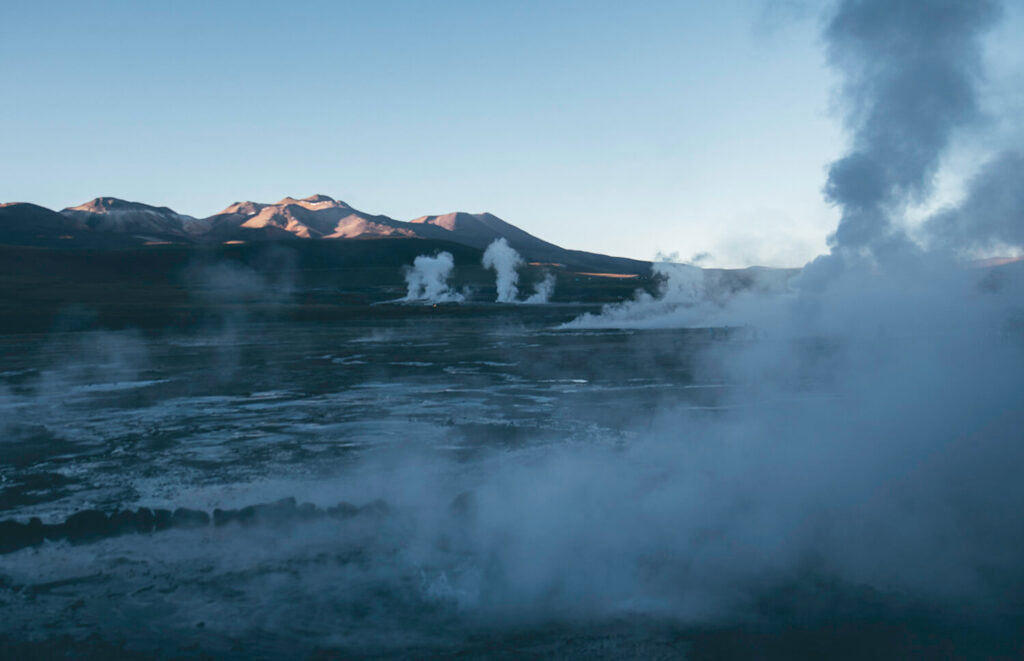 Walking amongst the geysers at El Tatio on our self drive