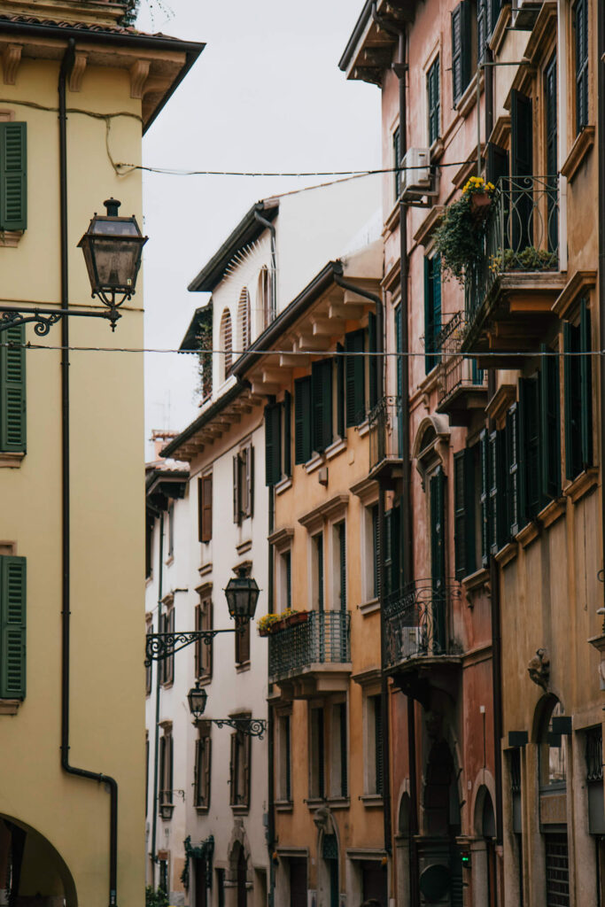 Street in Verona's historic centre with beautiful balconies