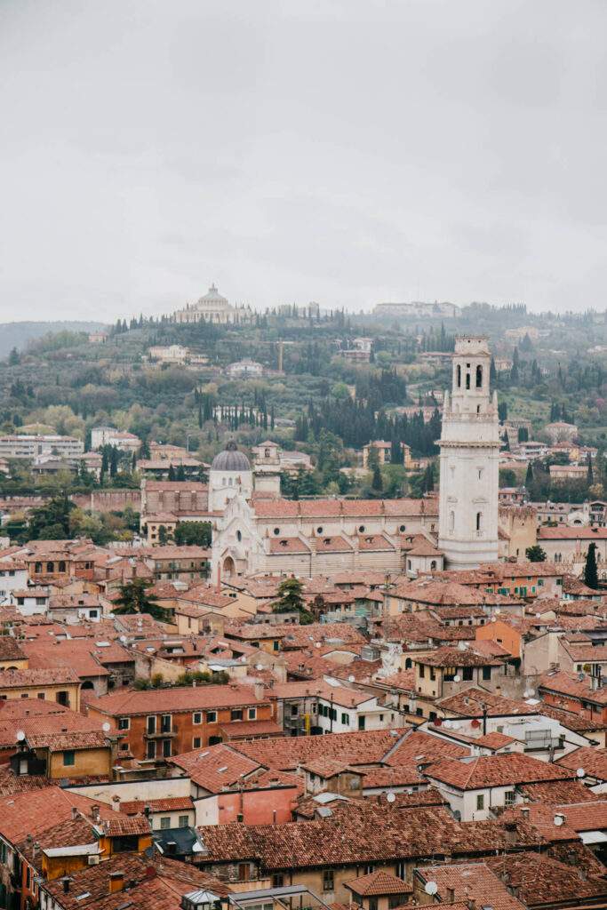 View over Verona's red rooftops from Torre Dei Lamberti