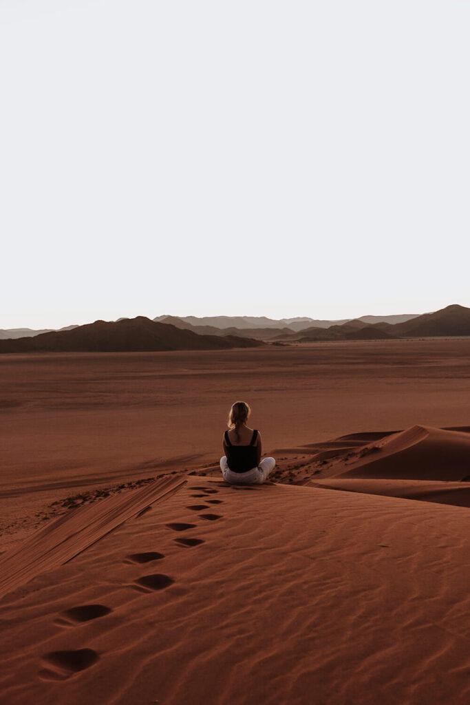 meditating in the vast Namib Desert