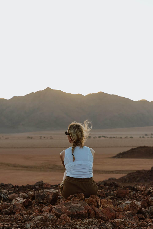 Enjoying the view during our sundowner at Namibia's Wildlife Sanctuary of Kanaan