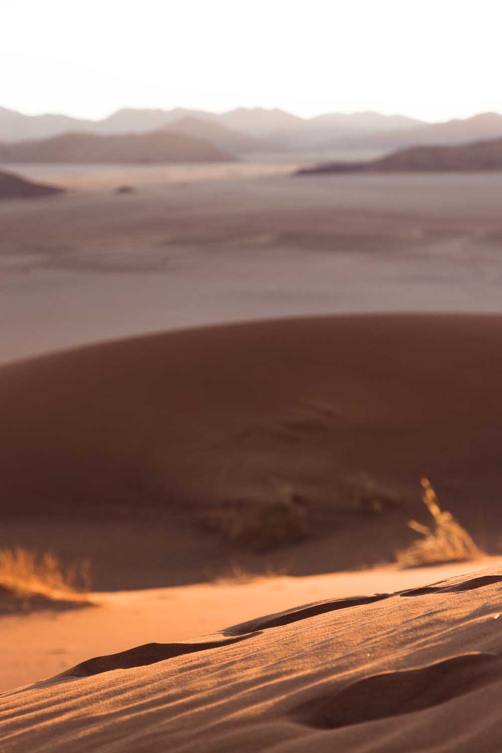 footprints in the sand at Kanaan Desert Retreat, an eco accommodation in Southern Namibia