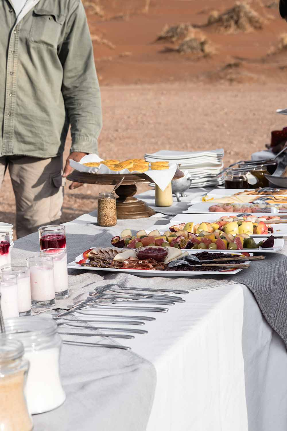 Breakfast spread at the end of our Sossusvlei hot air ballooning ride. A true romantic experience in Sossusvlei!