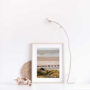 Beach Cabins photographic print with gift box