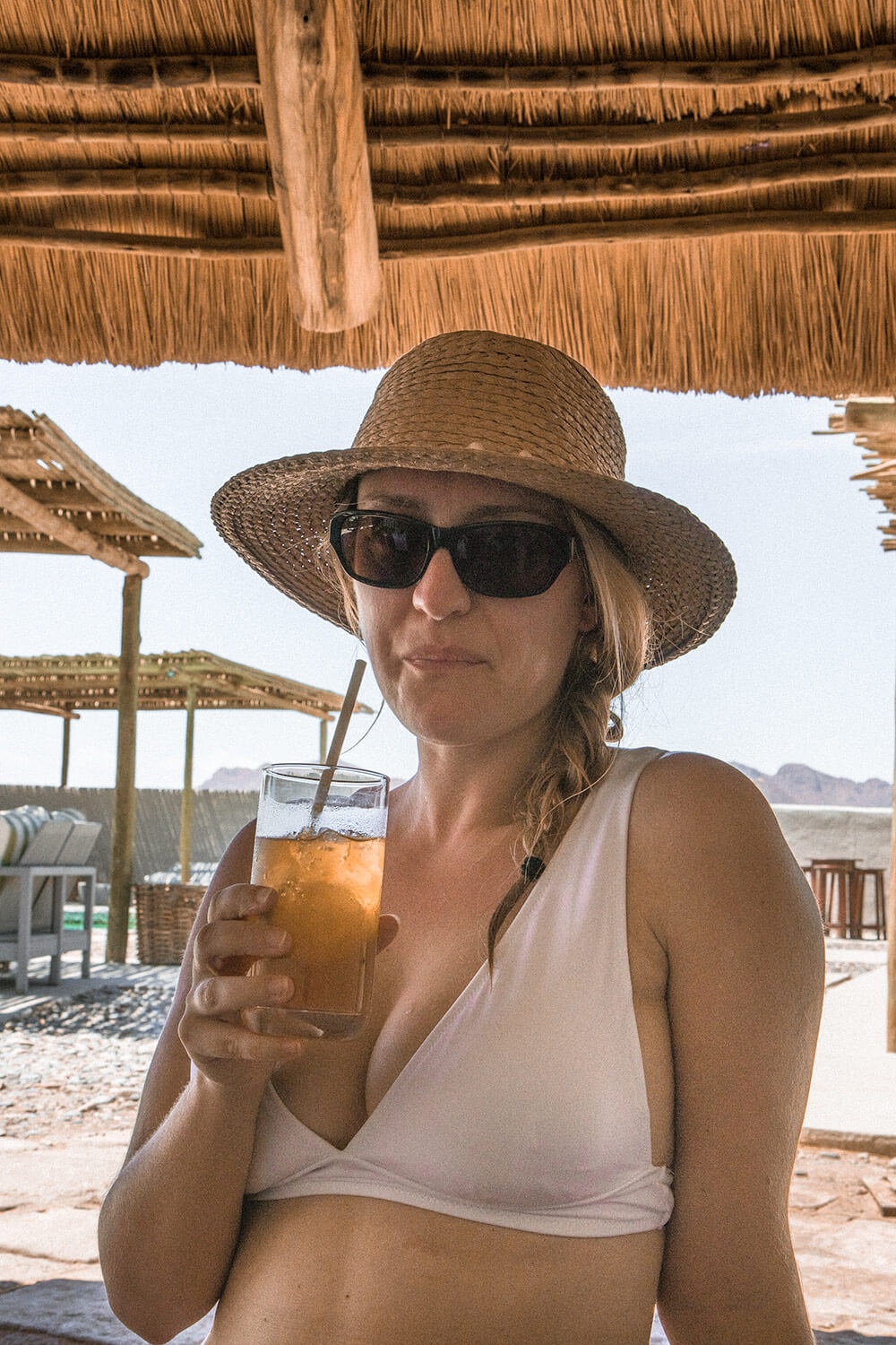 Sipping cocktails at the Kulala Desert Lodge