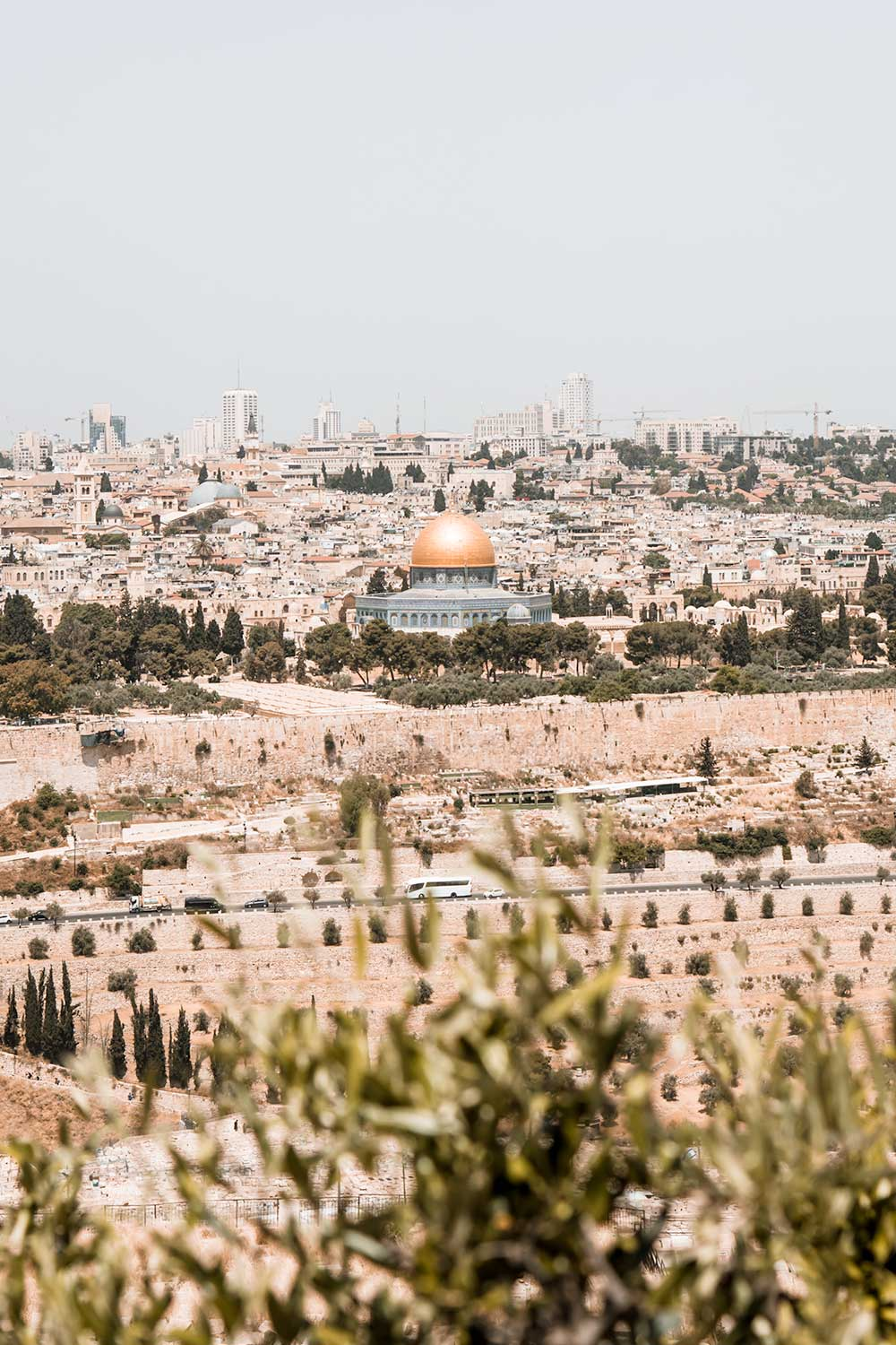 The beautiful Al Aqsa Mosque as seen from the Mount of Olives on our 2 days in Jerusalem