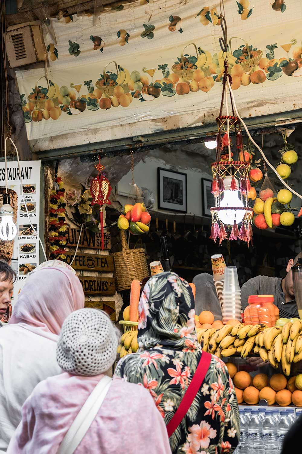 Delicious fruit juices are plenty available while exploring the Arab Market in the Muslim Quarter