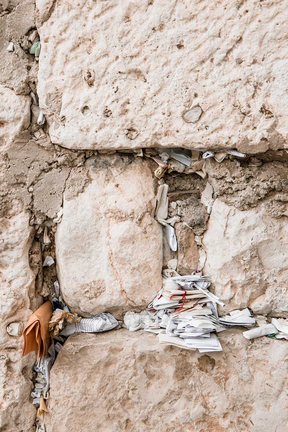 Prayers hidden in the Wailing Wall of Jerusalem
