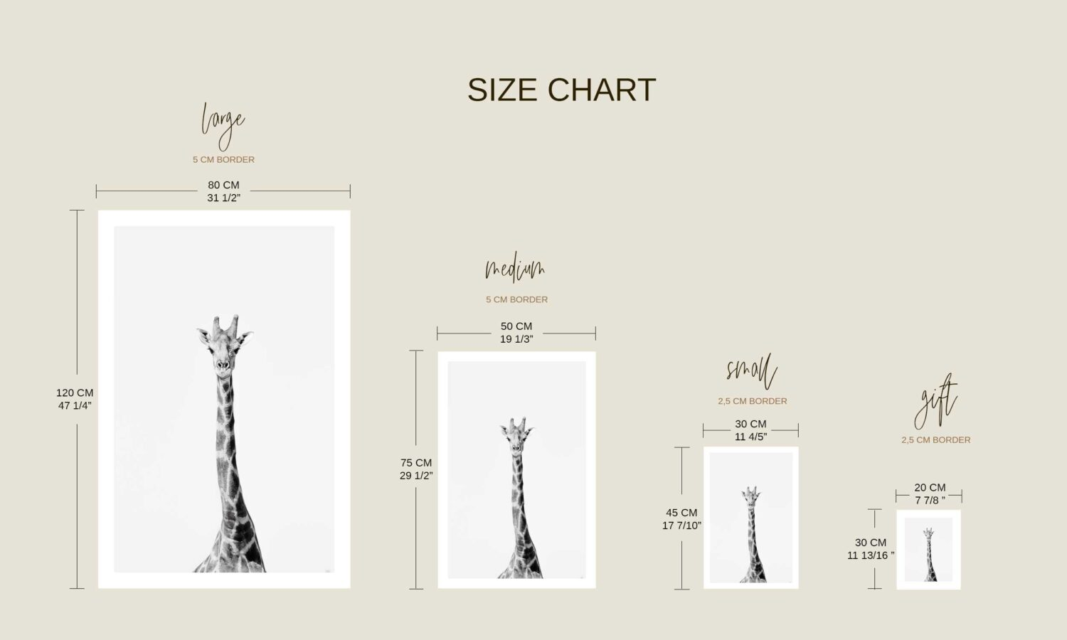 print size chart Along Came An Elephant