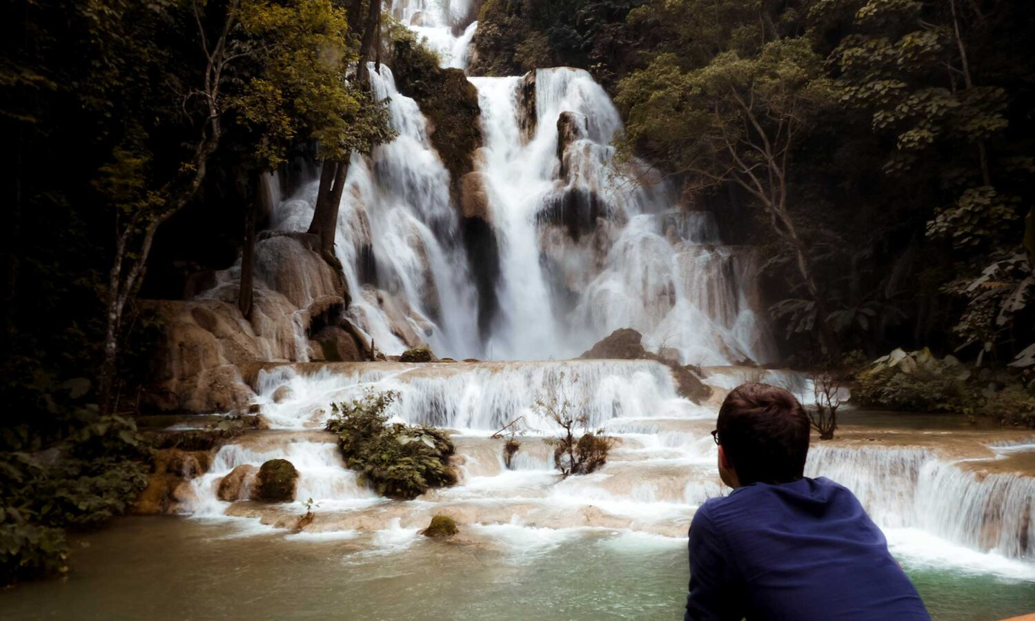 Getting a closer look at the Kuang Si Falls