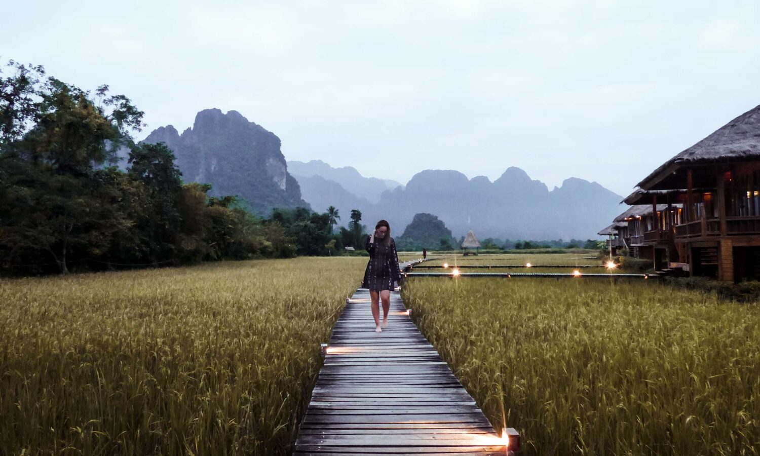 Staying among the Vang Vieng rice fields at Vieng Tara Villa