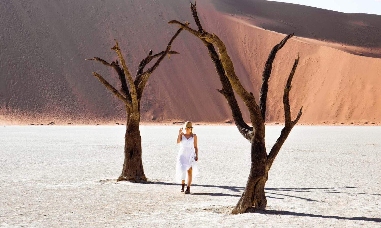Enjoying a tranquil stroll in Deadvlei on our two days in Sossusvlei.