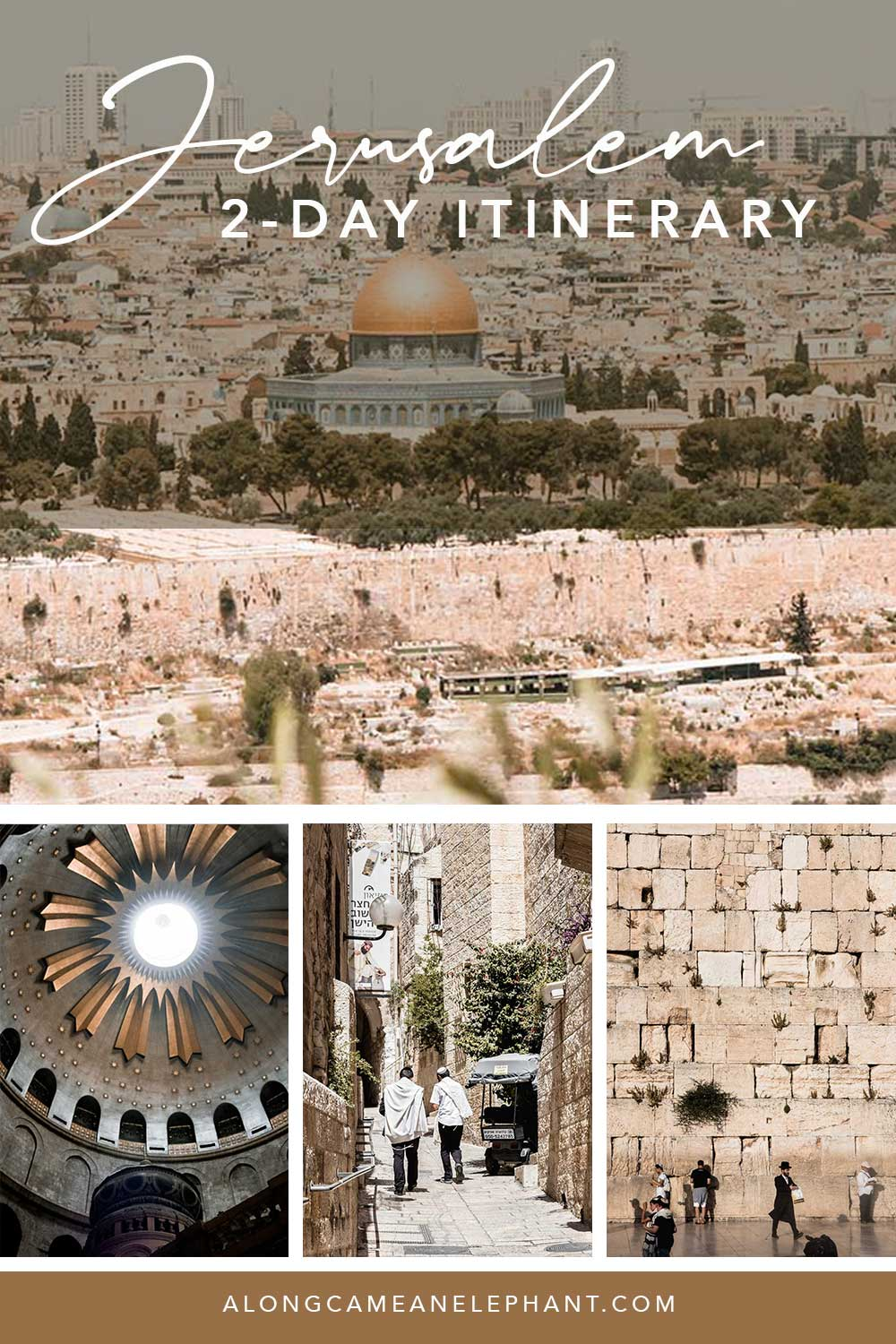 A perfect 2-day itinerary in the world capital of religion: Jerusalem. During two days, you'll explore the main highlights and sights of Judaism, Christianity and Islam. Our detailed 2-day Jerusalem itinerary includes entry prices, opening hours and an hour by hour itinerary designed and experienced by us!  #jerusalem #jerusalemitinerary #citytrip #visitisrael #travelisrael