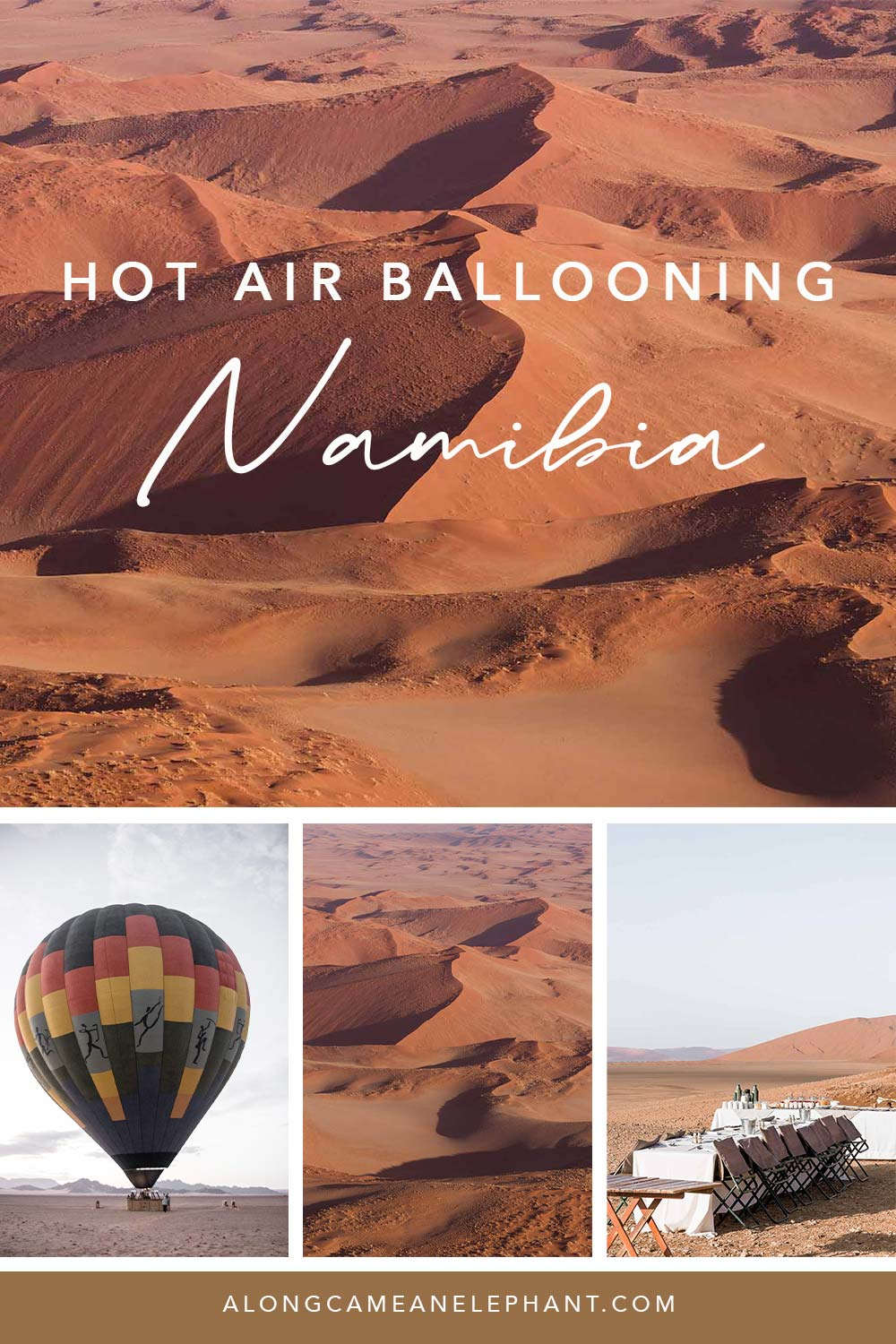 Enjoy Namibia's most famous attraction -Sossusvlei- from above during a hot air balloon ride. One of our most romantic experiences and best things to do in Namibia, the land of rusty sand dunes!   An incredible day trip floating over beautiful landscapes and enjoying a champagne breakfast once you touch ground in the Namib desert! #namibia #travel #desertexperience #romantictrips #honeymoonnamibia