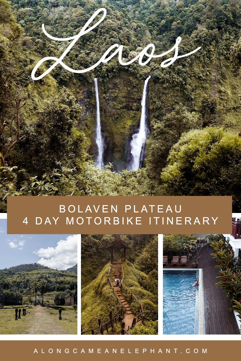 Ready to discover hidden Laos? The south of Laos hold gorgeous waterfalls, tropical rainforests, UNESCO heritage temples and coffee fields. All this can be found on the Bolaven Plateau. Discover our 4 days Bolaven Plateau motorbike loop itinerary with the best stops en route!  #travelasia #laos #bolavenplateau #laostravel